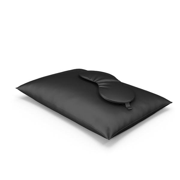 Set of Black Silk Pillow and Sleep Mask