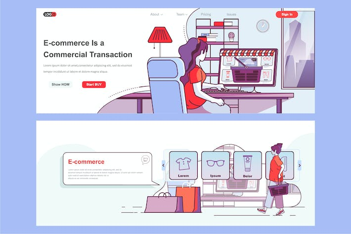 Thumbnail for E-commerce Header Footer or Middle Content