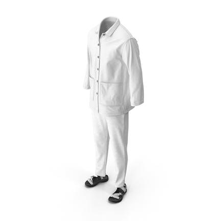 Мужская рубашка сандалии брюки белый