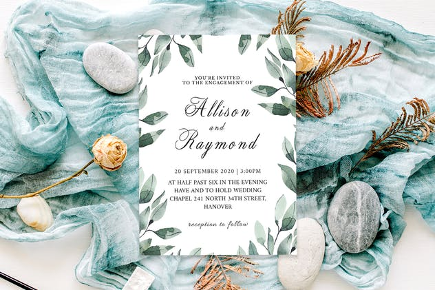 Floral Wedding Invitation Template V2