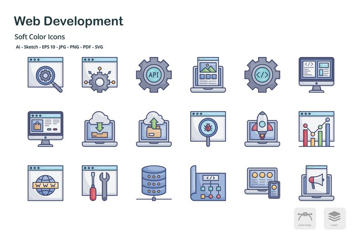 Thumbnail for Web development soft color icons