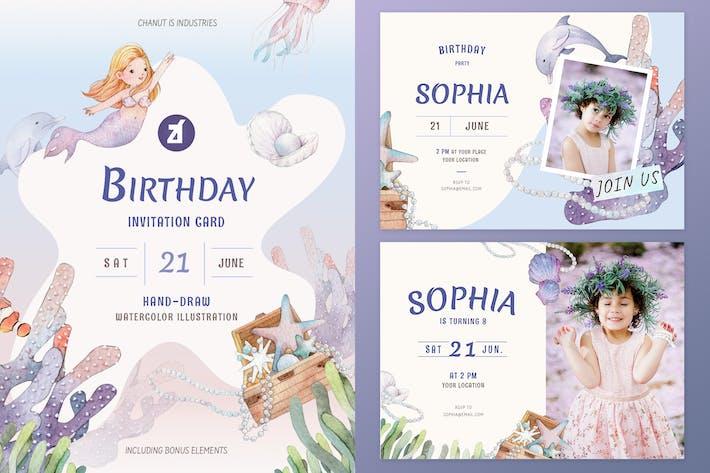 Thumbnail for Mermaid theme birthday invitation card