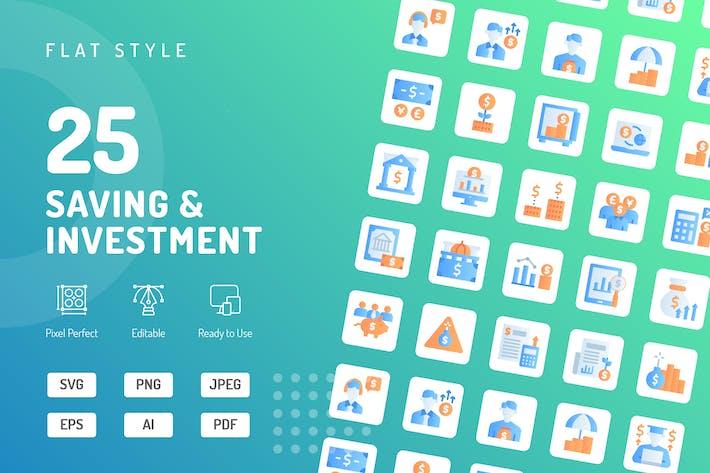 Flache Icons speichern und investieren