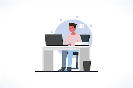 Trabajadores de oficina sentados en escritorios