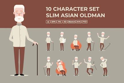 Slim Asian Old man - Character Set