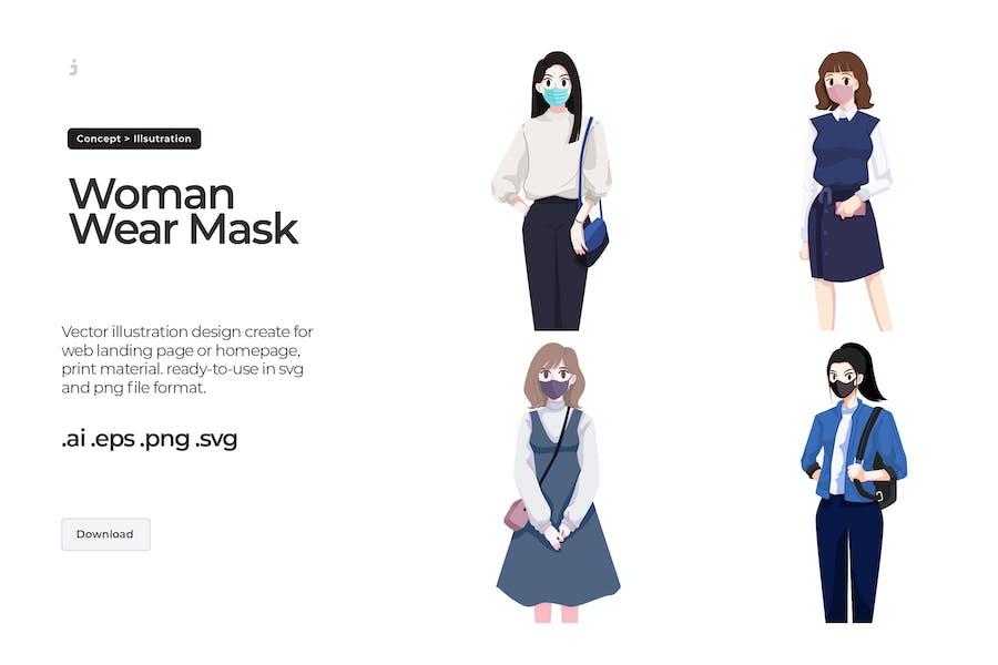 Woman wearing facemask - Illustration