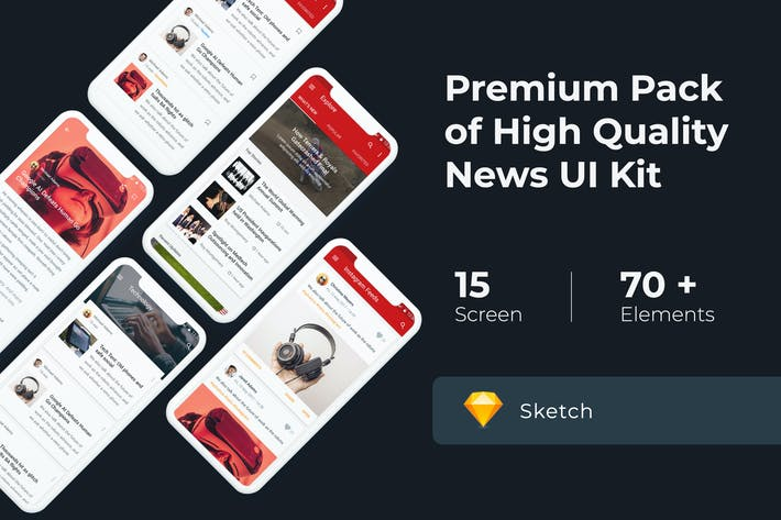 Thumbnail for News & Media UI KIT for Sketch