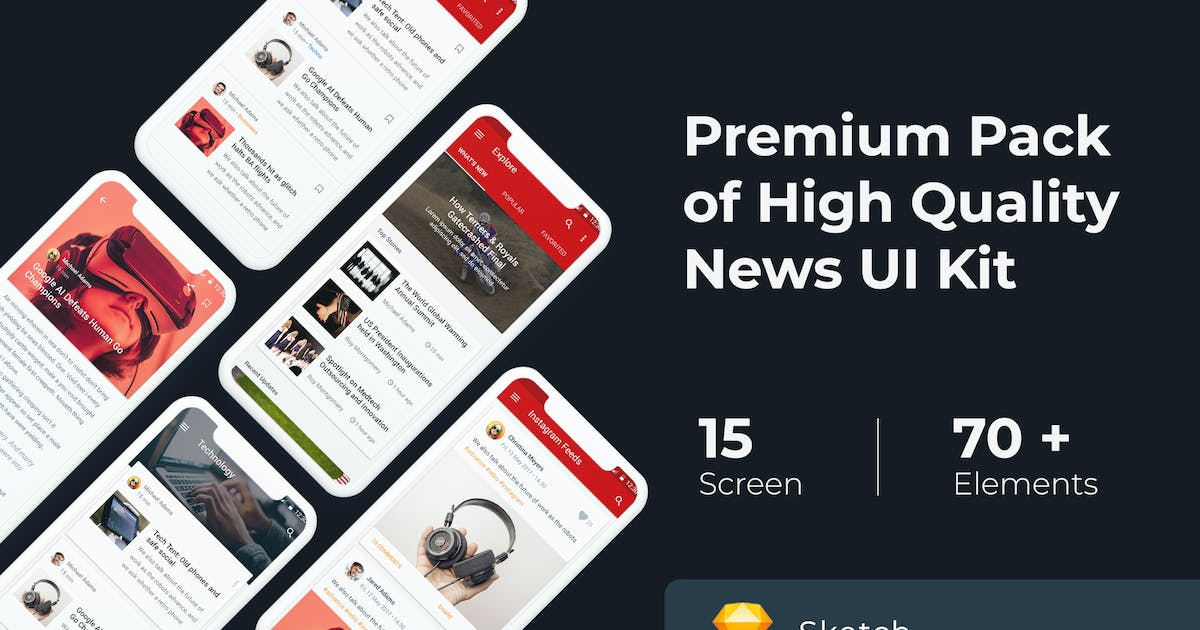 Download News & Media UI KIT for Sketch by WPBootstrap