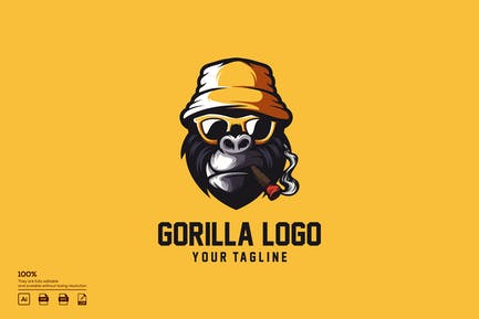 geek gorilla logo design
