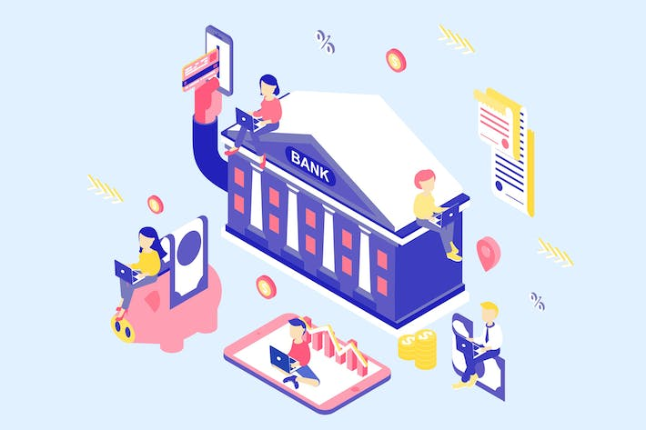 Thumbnail for Online Banking Isometric Illustration