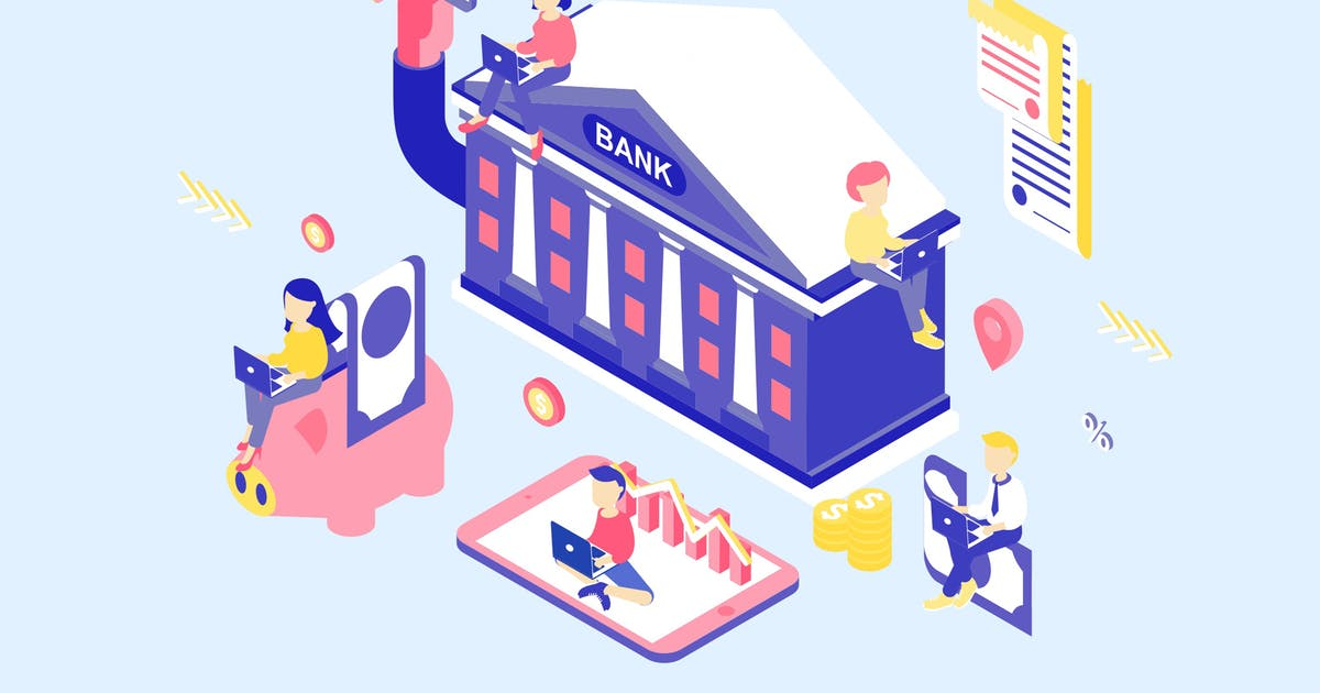 Download Online Banking Isometric Illustration by angelbi88