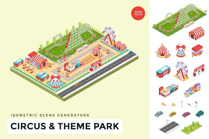 Thumbnail for Isometric Circus & Theme Park Vector Scene Creator