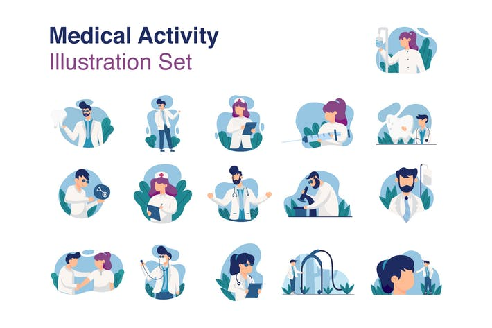 Thumbnail for Medical Activity Illustration Set