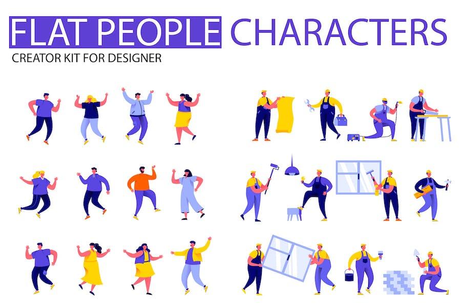 Modern Flat Cartoon People Character