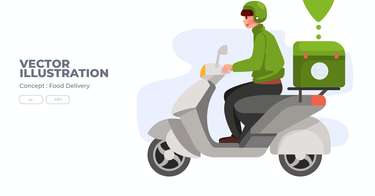 Download Food Delivery - Vector Illustration by Justicon