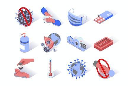 Virus Epidemic Coronavirus Isometric Icons Set