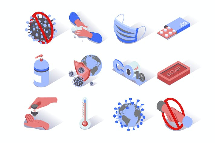 Thumbnail for Virus Epidemic Coronavirus Isometric Icons Set