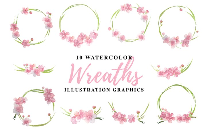 Thumbnail for 10 Watercolor Wreaths Illustration Graphics
