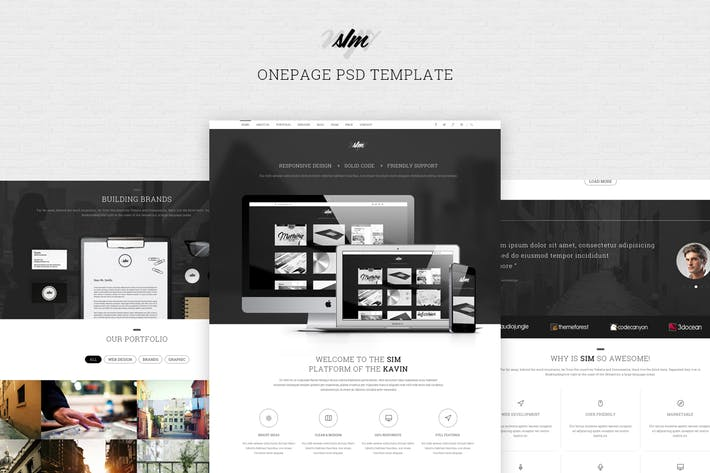 Thumbnail for SIM - One Page PSD Template