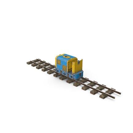 Mining Locomotive on Railway Section Dusty