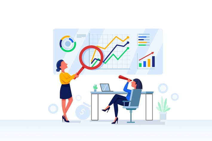 Thumbnail for Financial Research Vector Illustration