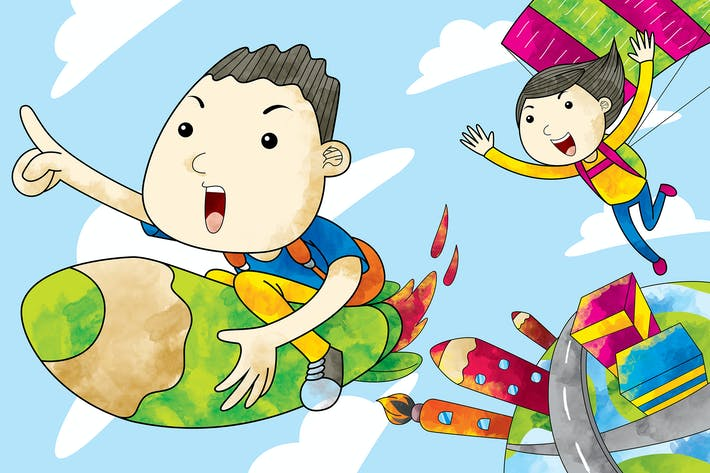 Thumbnail for Childs Flying on The Sky
