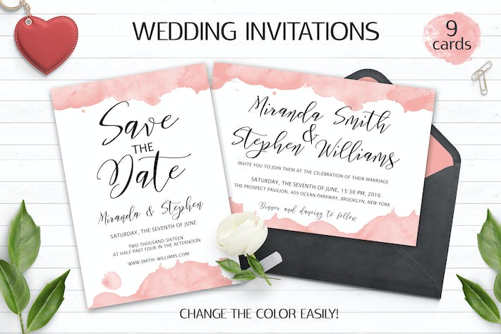Cover Image For Watercolor Wedding Invitation Templates PSD