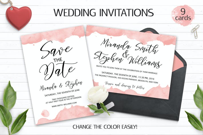 Thumbnail for Watercolor Wedding Invitation Templates PSD