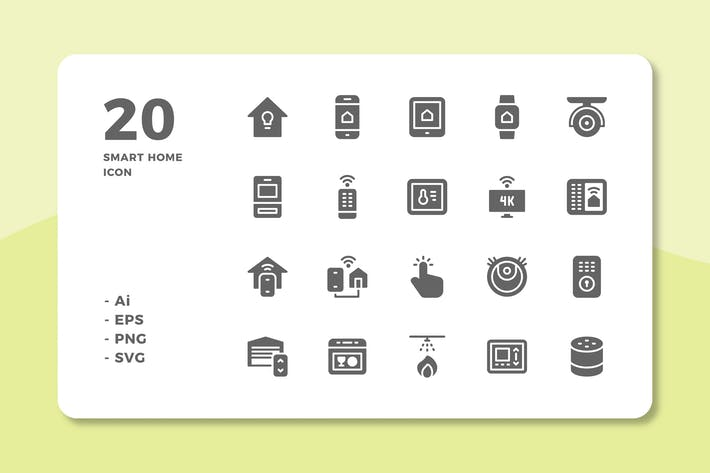 Thumbnail for 20 Smart Home Icons (Solid)