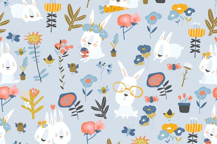 Thumbnail for Vector seamless pattern of cute cartoon bunnies an