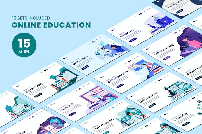 Thumbnail for Online Education Landing Concept Landing Page