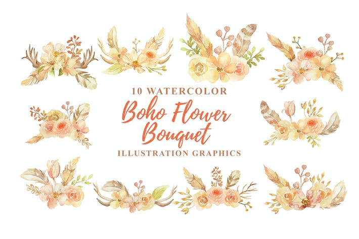 Thumbnail for 10 Watercolor Boho Flower Bouquet Illustration