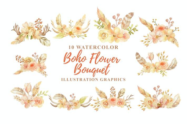 Thumbnail for 10 Акварель Boho цветок Букет Иллюстрация