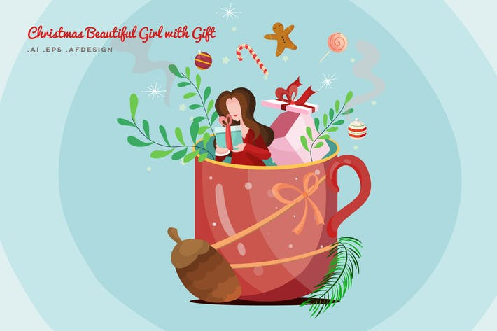 Cover Image For Merry Christmas Beautiful Girl with Gift Vector
