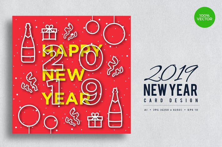 Thumbnail for Happy New Year 2019 Vector Card Vol.6