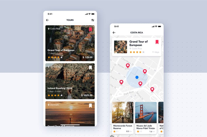 Thumbnail for Tours Guide UI Concept for Travel & Map