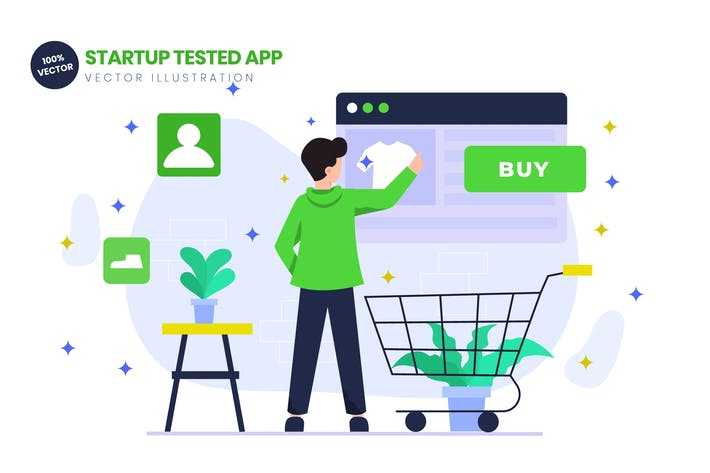 Thumbnail for Startup Tested App Flat Vector Illustration