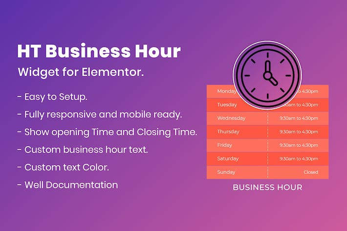 Thumbnail for HT Business Hour Widget for Elementor