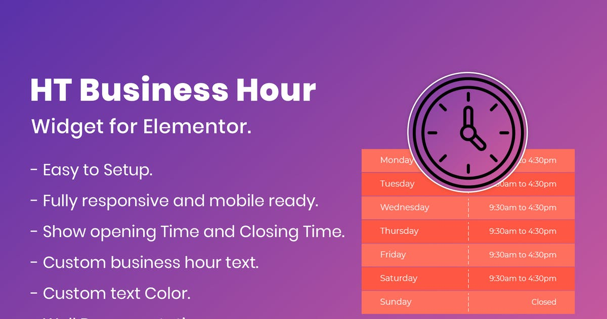 Download HT Business Hour Widget for Elementor by codecarnival