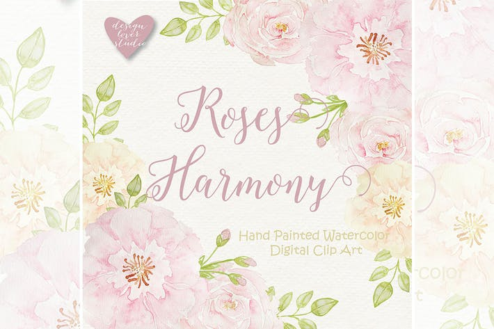 Thumbnail for Watercolor Roses Harmony clipart