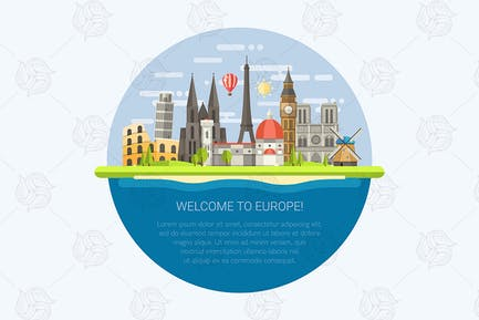 Composition with famous european worldmarks