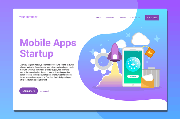 Thumbnail for Mobile Apps Startup - Landing Page