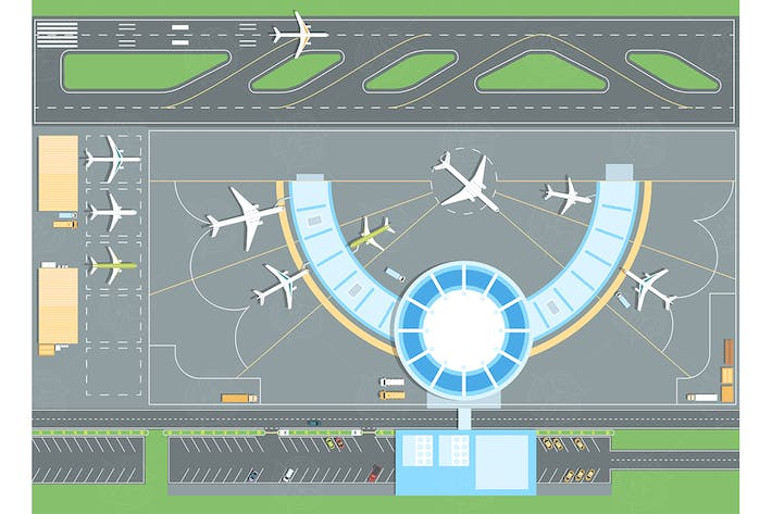 Thumbnail for Top view of the airport - vector illustration
