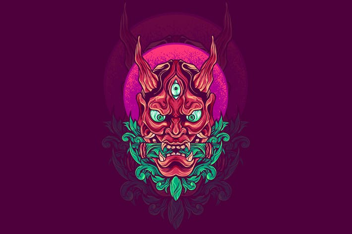 Hannya mask japanese illustration