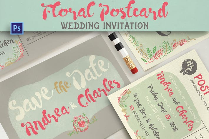 Thumbnail for Floral Postcard Wedding Invitation