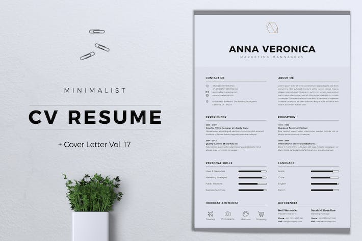 Thumbnail for Minimalist CV Resume Vol. 17