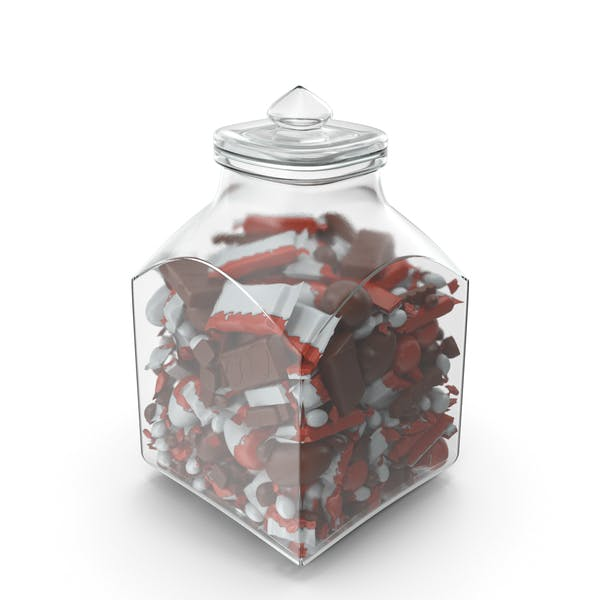 Square Jar with Mixed Chocolate Candies