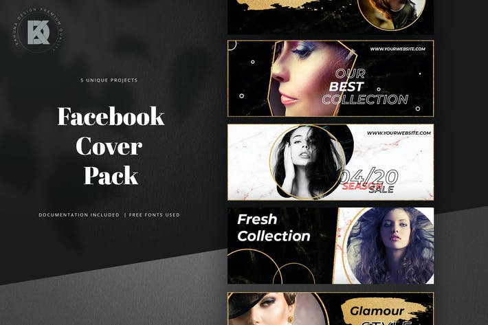 Gold & Brush Facebook Cover Pack
