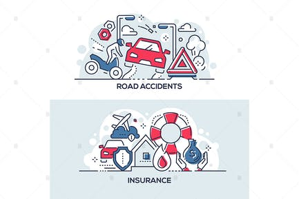 Road accidents and insurance service banners