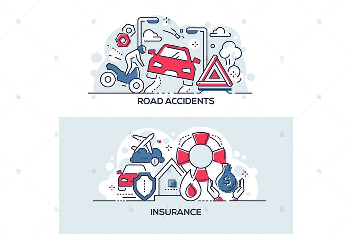 Thumbnail for Road accidents and insurance service banners